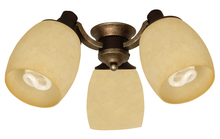 Craftmade LK47CFL-DCVM - 3 Light Universal Fan Light Kit in Dark Coffee/Vintage Madera with Antique Scavo Glass