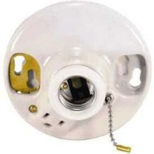 Satco Products Inc. 90/444 - Glazed Porcelain Ceiling Receptacle On-Off Pull Chain w/Grounded Convenience Outlet
