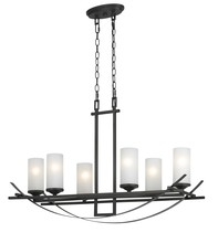"CAL Lighting FX-3534/6 - 12.30"" Height Metal Chandelier In Organic Black"