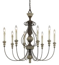 "CAL Lighting FX-3535/8 - 33"" Inch Eight Light Chandelier In Dapple Gray Rust"