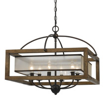 "CAL Lighting FX-3536/6 - 20"" Inch Square Chandelier In Dark Bronze"