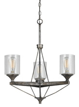 "CAL Lighting FX-3538/3 - 28"" Inch Metal Chandelier In Textured Steel"