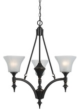 "CAL Lighting FX-3541/3 - 29"" Inch Tall Iron Chandelier In Dark Bronze Finish"