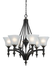 "CAL Lighting FX-3541/6 - 29"" Inch Tall Iron Chandelier In Dark Bronze Finish"