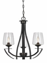 "CAL Lighting FX-3550/3 - 20"" Inch Tall Metal Chandelier In Organic Black Finish"
