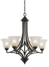 "CAL Lighting FX-3551/6 - 30.5"" Tall Iron And Glass Pendant In Dark Bronze Finish"